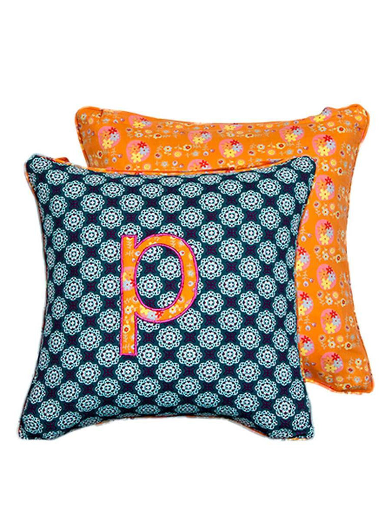 Letter P Cotton Alphabet Cushion Cover - 12 Inch Kids Alphabets Cushions