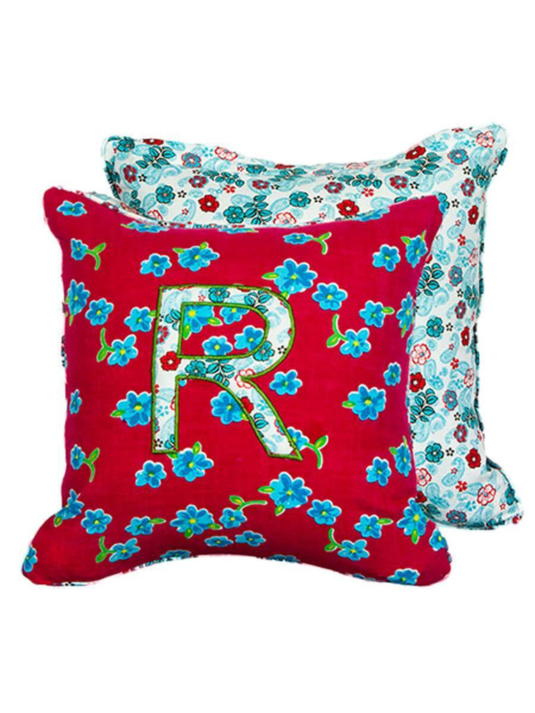 Letter R Cotton Alphabet Cushion Cover - 12 Inch Kids Alphabets Cushions