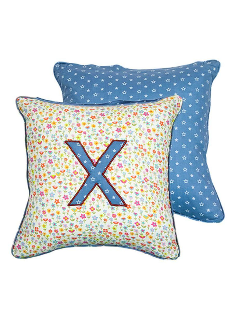 Letter X Cotton Alphabet Cushion Cover - 12 Inch Kids Alphabets Cushions