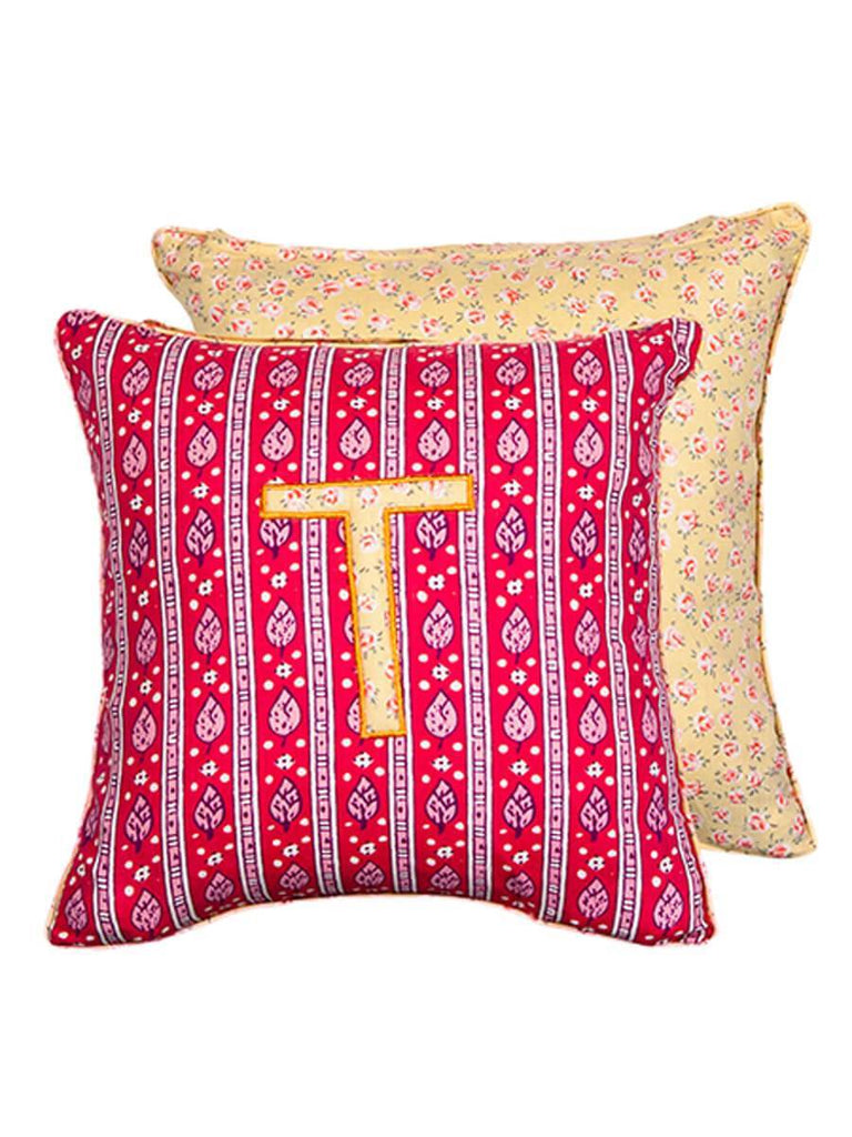 Letter T Cotton Alphabet Cushion Cover - 12 Inch Kids Alphabets Cushions
