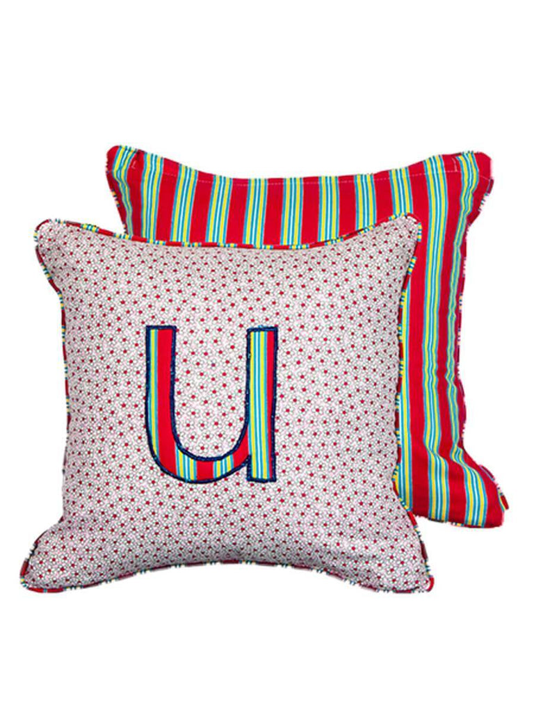 Letter U Cotton Alphabet Cushion Cover - 12 Inch Kids Alphabets Cushions