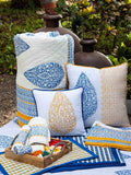 Indigo Mustard Hand Block Print Double Side Printed Cotton Cushion Cover - 16 Inch Cushions