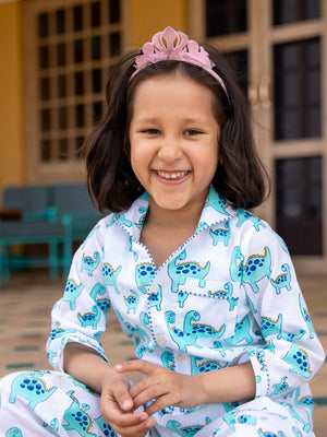 Dino Organic Cotton Top & Pyjama Set - Pinklay