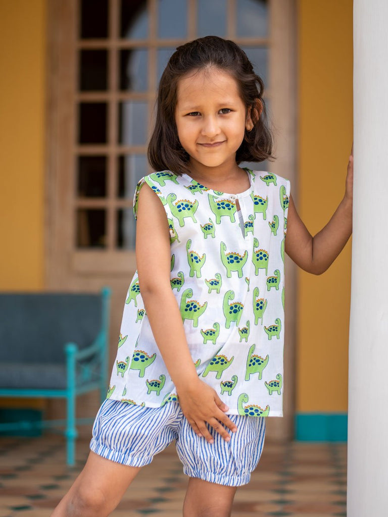 Dino Organic Cotton Top & Shorts Set - Pinklay