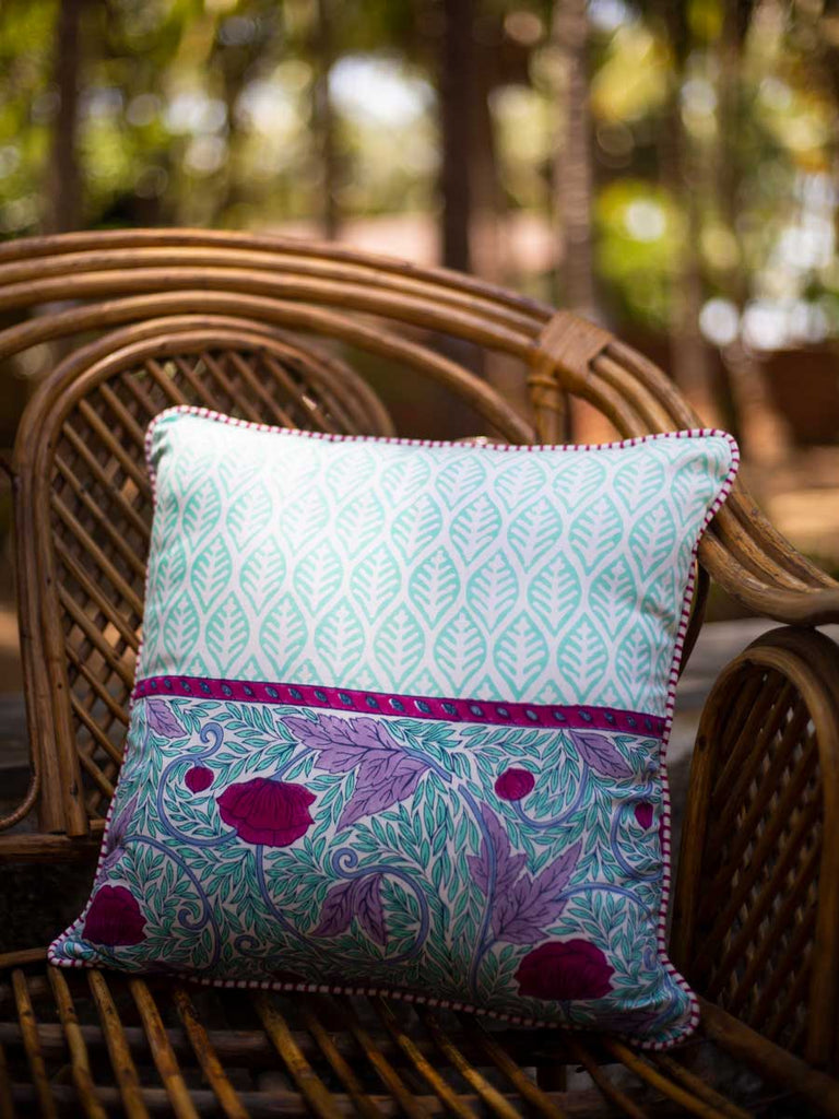 Fields of Lavender Hand Block Print Cotton Cushion Cover (16 Inch) - Pinklay