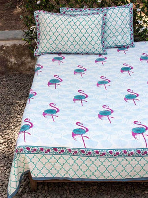 Flamingo Hand Block Print Cotton Pillow Cover - Set of 2