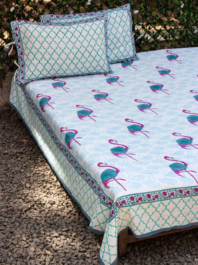 Flamingo Hand Block Print Cotton Double Bed Sheet Set With 2 Pillow Covers Bed Sheet