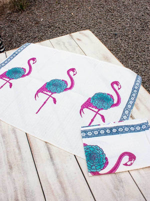 Flamingo Hand Block Print Cotton Hand Towels - Set of 2 Bath Linen