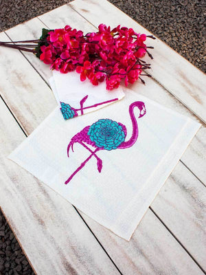 Flamingo Hand Block Print Cotton Face Towels - Set of 2 Bath Linen