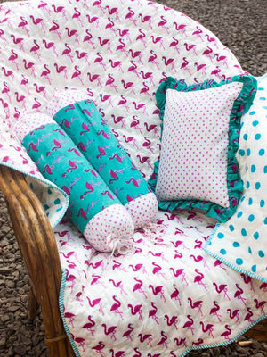 Flamingo GOTS Certified Organic Cotton Cot Bedding Set of 5 New Kids Collection