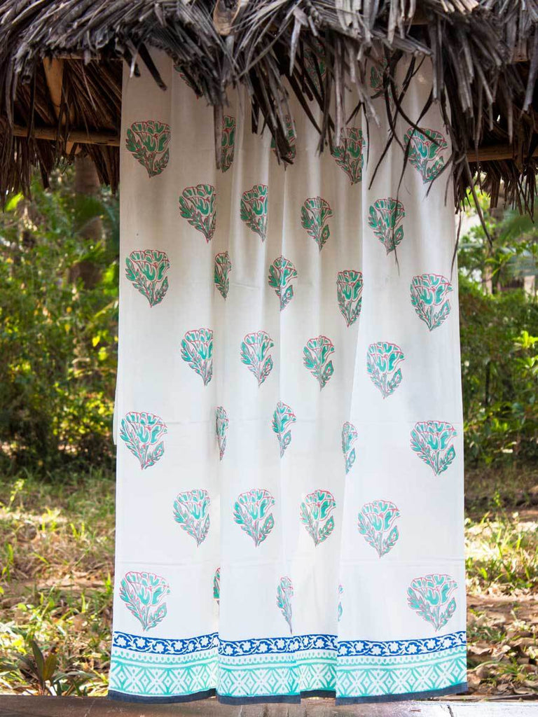 Floral Poetry Hand Block Print Cotton Curtain with Border & Concealed Loops Curtains