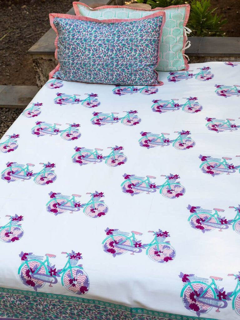 Floral Ride Hand Block Print Cotton Bed Sheet Set With Complementing Pillow Covers - Pinklay