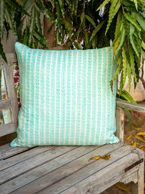 Fruits of Paradise Hand Block Print Cotton Cushion Cover - Pinklay