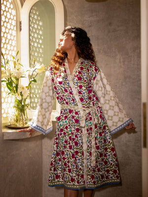 Fruits of Paradise Hand Block Print Cotton Bath Robe - Pinklay