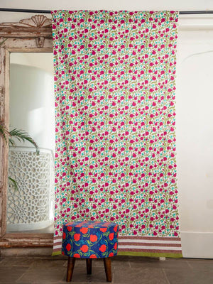 Fruits of Paradise Hand Block Print Cotton Curtain - Pinklay