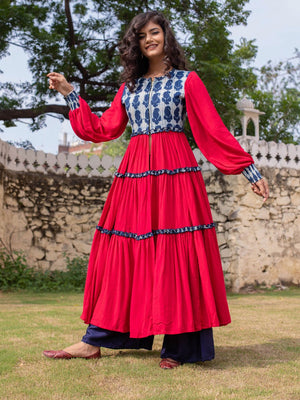 Fuchsia Rose Quilted Anarkali Jacket Dress