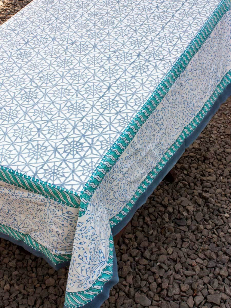 Geometrical Hand Block Print Cotton Table Cover Table Cloths