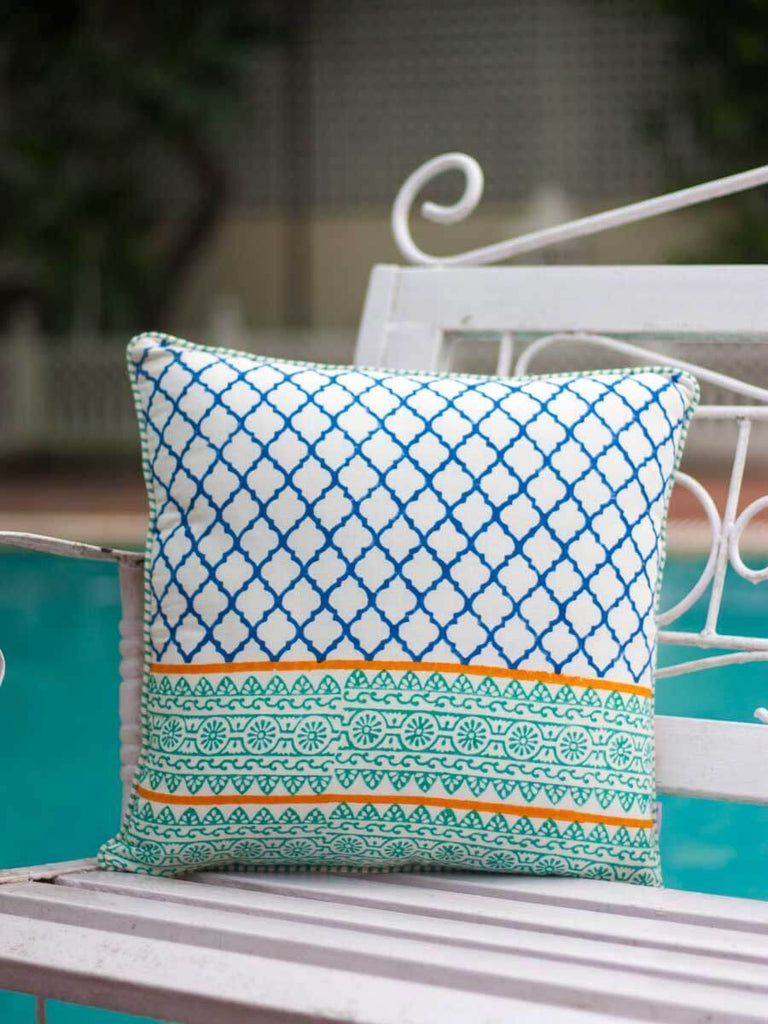 Gul Hand Block Print Cotton Cushion Cover - 16 Inch