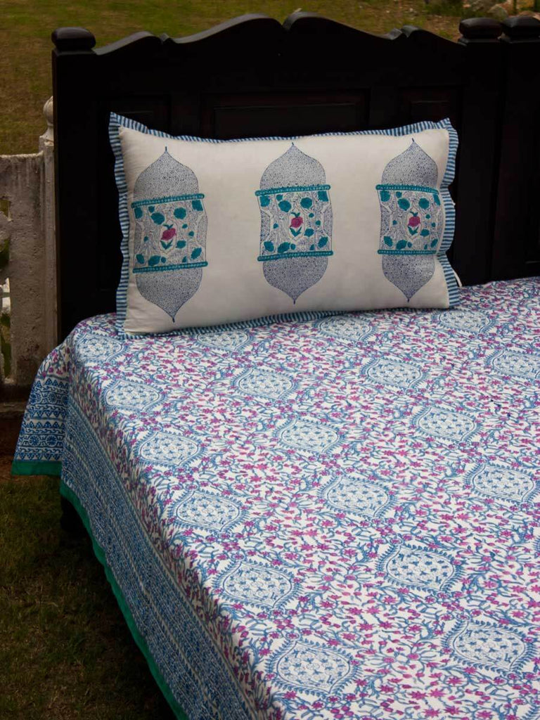 Gul Hand Block Print Cotton Bed Sheet Set With Complementing Pillow Covers