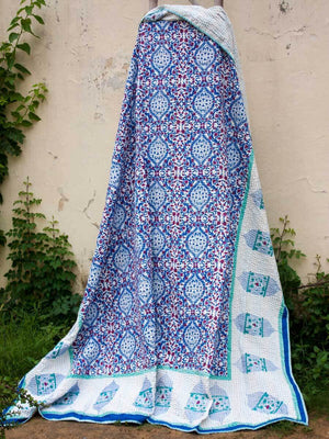 Gul Jaal Kantha Cotton Gudri; Double Layered Bed Cover