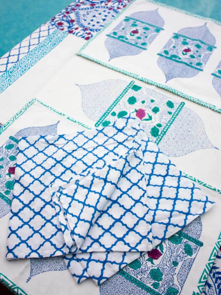Gul Jaal Hand Block Print Cotton Table Napkins - Set of 4