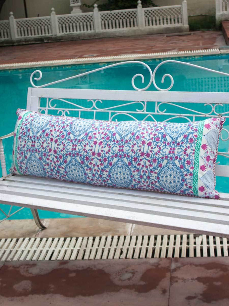 Gul Hand Block Print Cotton Cushion Cover - 16 X 48 Inch