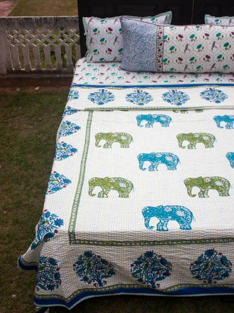 Haathi Kantha Cotton Gudri; Double Layered Bed Cover
