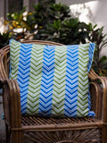 Chevron Hand Block Print Cotton Cushion Cover - 24 Inch