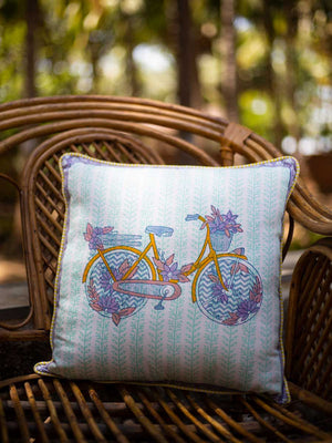 Heavenly Ride Hand Block Print Cotton Cushion Cover (16 Inch) - Pinklay