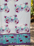 Heavenly Ride Hand Block Print Cotton Curtain with Border & Concealed Loops - Pinklay