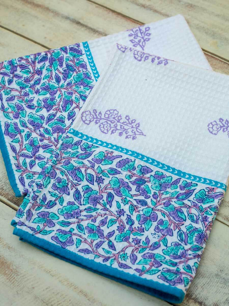 Fields of Lavender Hand Block Print Cotton Hand Towels - Pinklay