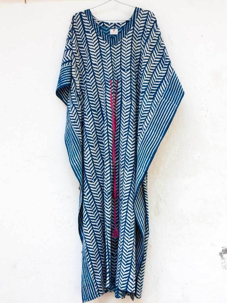 Indigo Breeze Daabu Printed Cotton Kaftan Kaftans