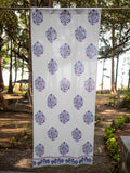 Jaipur Hand Block Print Cotton Curtain with Border & Concealed Loops