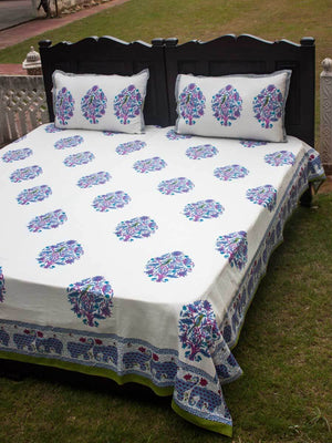 Jaipur Hand Block Print Cotton Bed Sheet Set With Complementing Pillow Covers