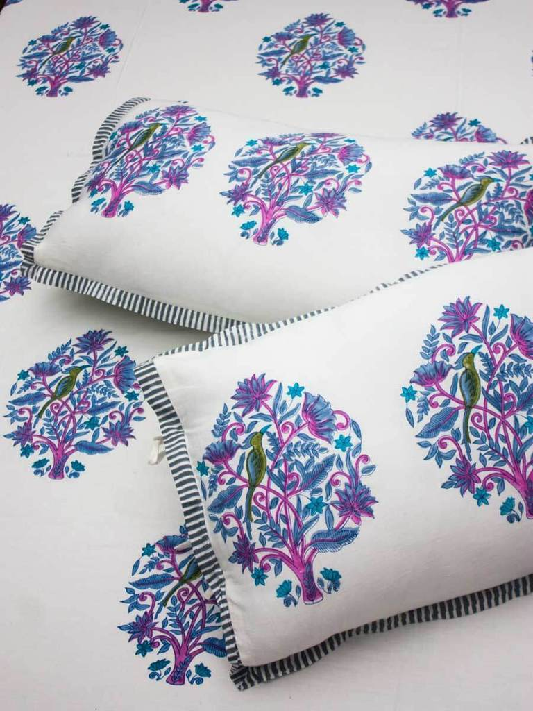Jaipur Hand Block Print Cotton Pillow Cover - Set of 2 - Pinklay