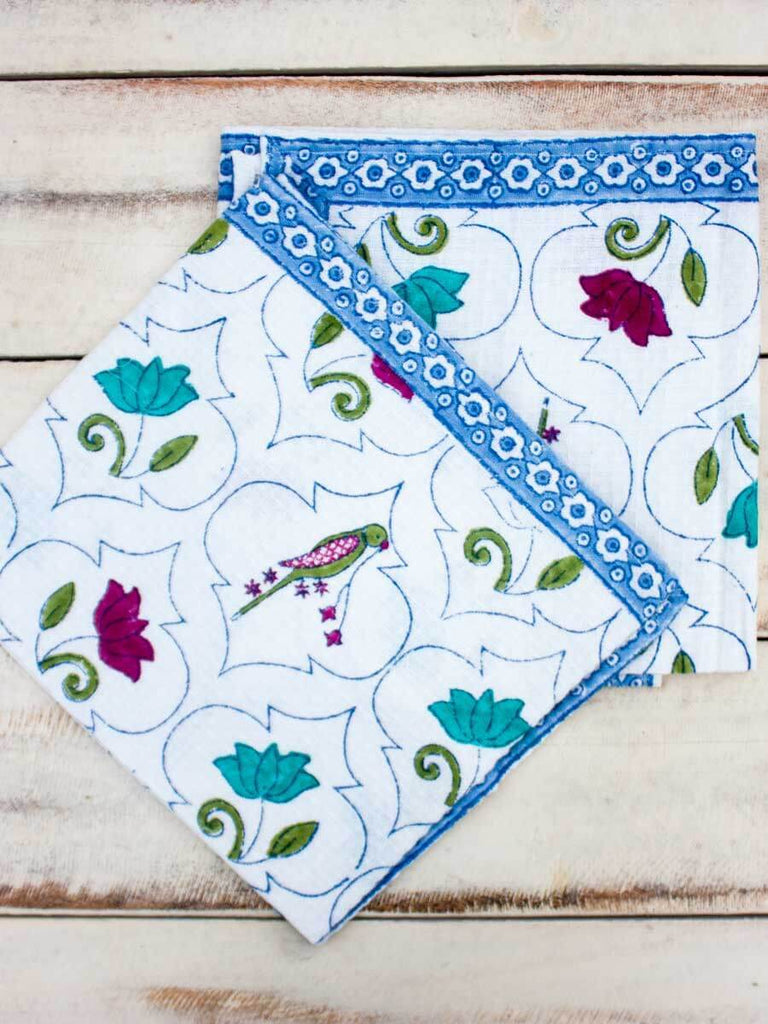 Lotus Jaal Hand Block Print Cotton Hand Towels - Set of 2
