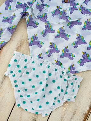 Unicorn Organic Cotton Bloomer Set - Pinklay