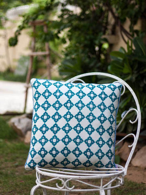 Jharokha Hand Block Print Cotton Cushion Cover - 20 Inch Cushions