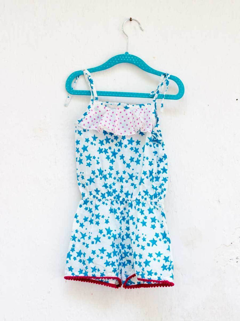 Blue Star Organic Cotton Jumpsuit with Pompoms Kids Clothing