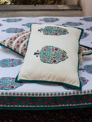 Kalpavriksha Hand Block Print Cotton Pillow Cover - Set of 2
