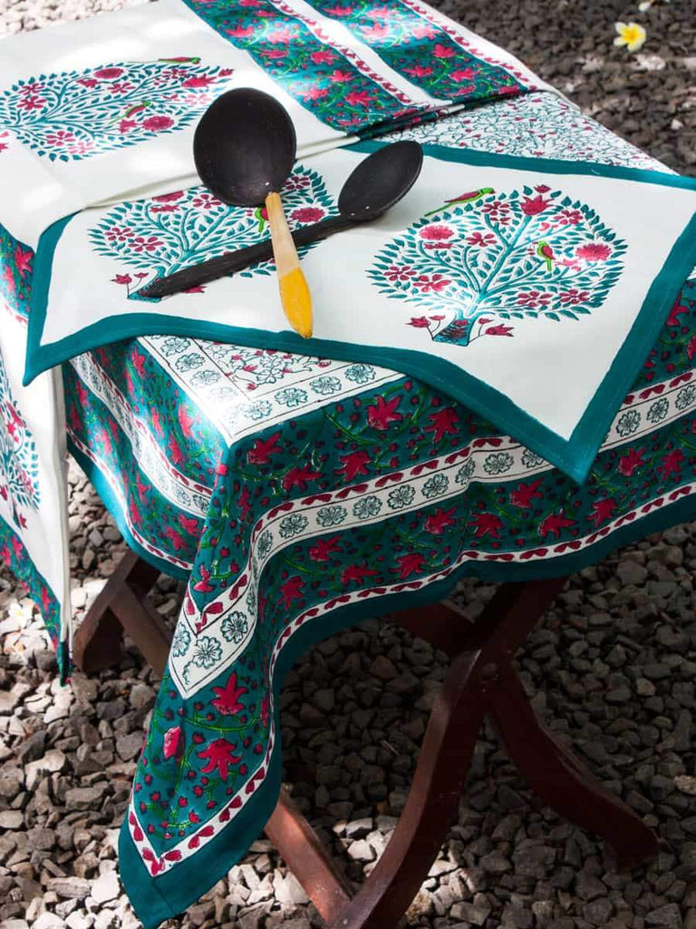 Kalpavriksha Hand Block Print Cotton Table Runner Table Mats Runners Napkins Tea Cozy