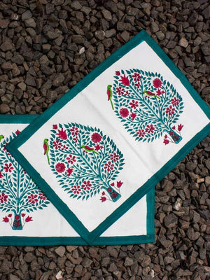 Kalpavriksha Hand Block Print Cotton Table Mats - Set of 2 Table Mats Runners Napkins Tea Cozy
