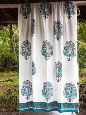 Kalpavriksha Hand Block Print Cotton Curtain with Border & Concealed Loops Curtains