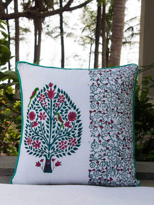 Kalpavriksha Hand Block Print Double Side Printed Cotton Cushion Cover - 16 Inch Cushions