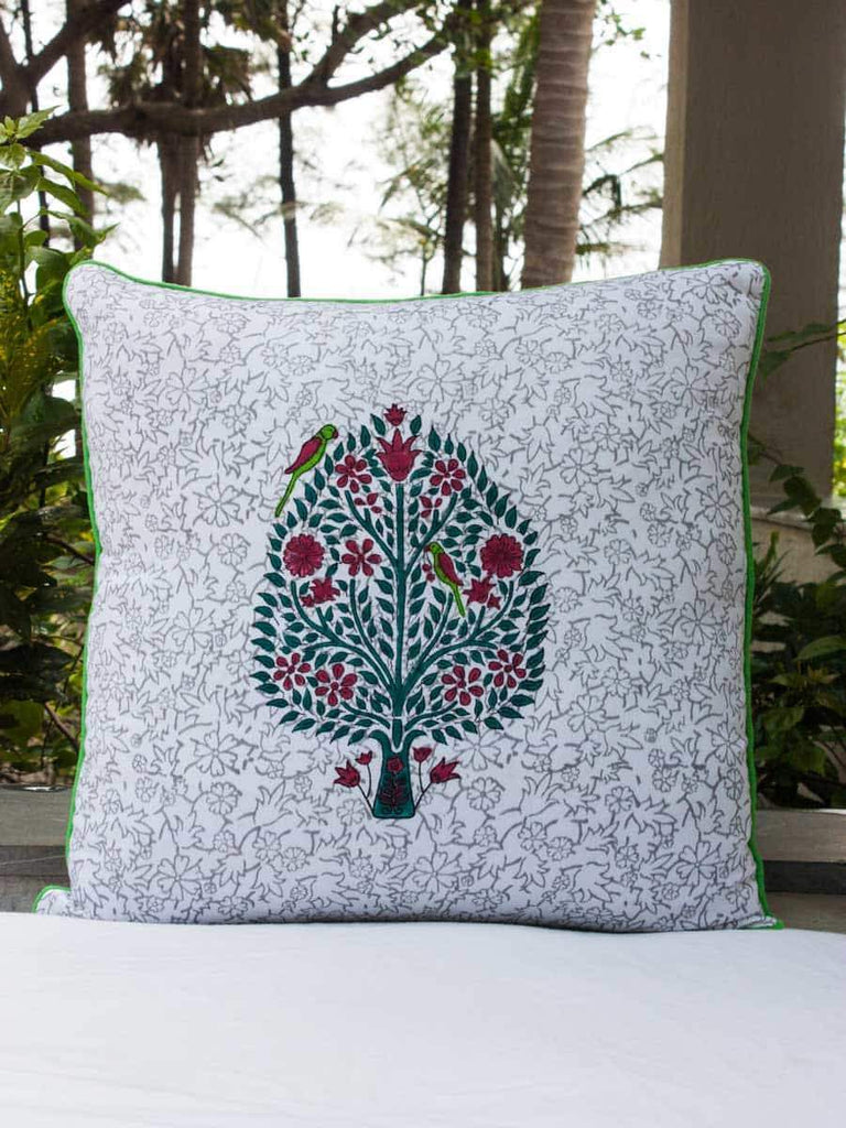 Kalpavriksha Hand Block Print Cotton Cushion Cover - 20 Inches Cushions