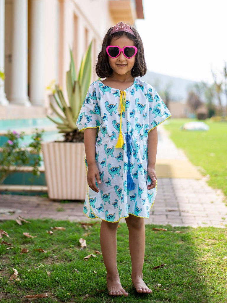 Dino Organic Cotton Kaftan for Kids - Pinklay