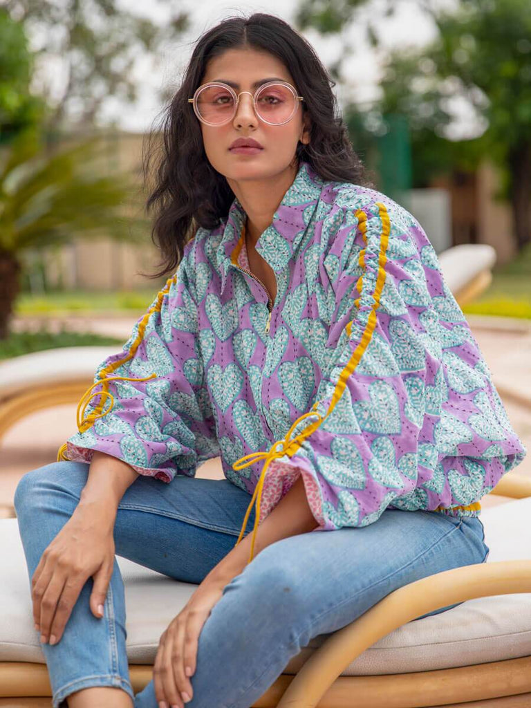 Lilac Kantha Embroidered Hand Block Print Bomber Jacket - Pinklay
