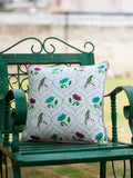 Lotus Jaal Hand Block Print Cotton Cushion Cover - 16 Inch