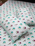 Lotus Jaal Hand Block Print Cotton Bed Sheet Set With Complementing Pillow Covers