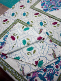 Lotus Jaal Hand Block Print Cotton Table Napkins - Set of 4